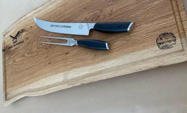מארז סכין וקרש חיתוך מעץ